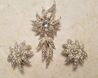 Sarah Coventry Rhinestone Brooch and Earrings