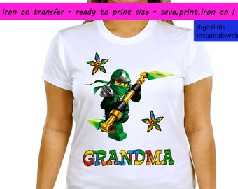 Lego Ninjago, Lego Ninjago Iron On Transfer, Lego Ninjago Grandma, Ninjago, Ninjago Iron On Transfer, Instant Download, Digital File