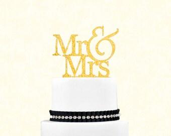 Glitter Gold Mr & Mrs Topper