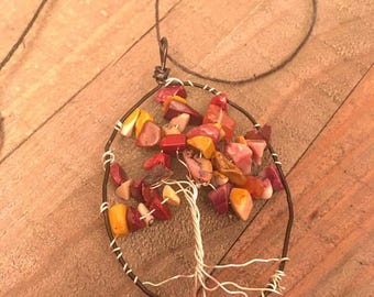 Gemstone Fall Tree Necklace