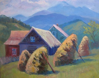 Summer  Landscape, Mountains, Houses in the mountains, Original painting, Canvas Painting, Oil art by Anna Trachuk