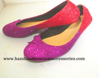 purple and red glitter ombre flat shoes /custom shoes/ glitter shoes/ wedding/party shoes.
