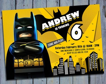 Lego Batman Party Invite, Lego Batman Birthday Card Invitation, Lego Movie Printable Digital Invitations, Custom Personalized Printables