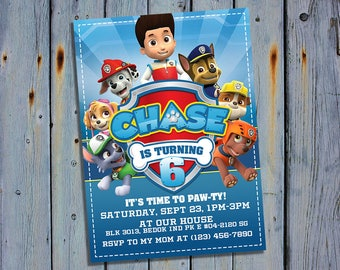 Paw Patrol Birthday Invitation, Paw Patrol Party Card Invite, Paw Patrol Printable, Marshall Digital Invitations, Chase Custom Printables