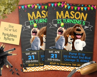 Secret Life of Pets Birthday Invitation, Secret Life of Pets Invite, Secret Life of Pets Birthday Party