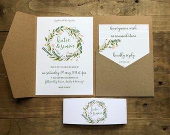Botanical pocketfold invitation