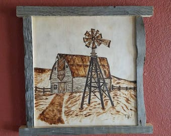 Wood burn rustic art