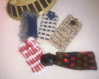 Bue and Silver Handmade Crochet Child's Sunglasses/phone Case