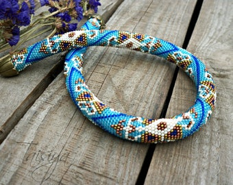 Blue beaded rope necklace. Crochet bead necklace. necklace.Beaded rope necklace.choker.Handmade jewelry. oriental necklace,Moroccan necklace