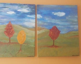 Just Over The Hills original Acrylic painting on Split Canvas