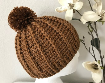 Hand Crochet Cable winter hat