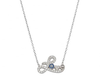 silver sterling 925 necklace, love with blue evil eye, summer mood