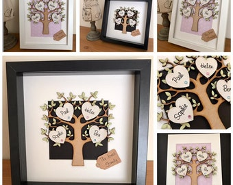 Family Tree Frame Personalised Gifts Box Frame Keepsake Gifts for Family Home Decor Home Improvement, 14.99 1-10 hearts, 19.99 11-15 hearts.