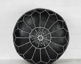 Black Leather Pouf, Moroccan Pouf Ottoman