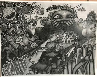Hand Drawn Art Print