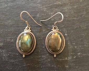 Sterling Silver Labradorite Drop Earrings