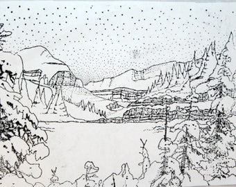 Winter Mountain Scene Detailed Unmounted Rubber Stamp Snow Forest Woods Nature Card Making Collage Mixed Media