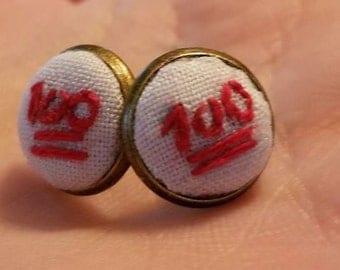 Embroidered 100 Emoji Stud Earrings