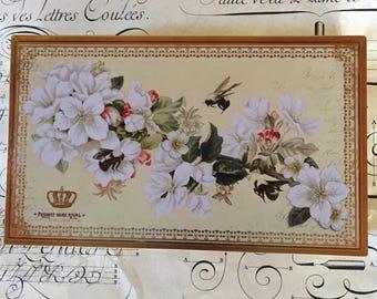 England Metal Old Tin Box Chocolates Bee & Flowers Vintage Look Storage Box