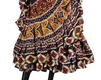 Beautiful Chocolate Browns&Rich Golds 25Yard Tribal Gypsy ATS Skirt