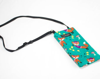 Fox fabric Eyeglass Reader Case -with adjustable neck strap lanyard