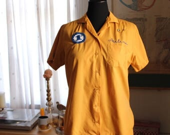 mustard yellow vintage bowling shirt by King Louie, 1950s 60s shirt, 1st place embroidered, original pins, Arlene . APPROX womens large XL