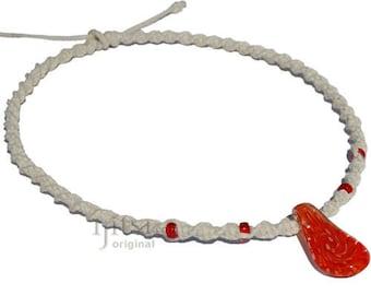 White twisted hemp necklace with Orange swirl glass pendant