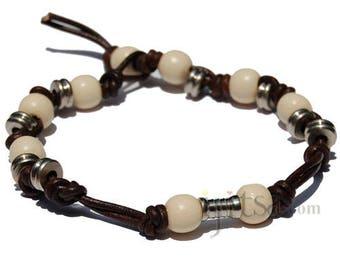Dark brown leather bracelet  with off white wooden and metal beads