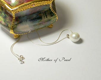 White mother of pearl 14x18mm teardrop pendant, handmade sterling silver tubular chains, custom chain lengths available, 925 sterling silver