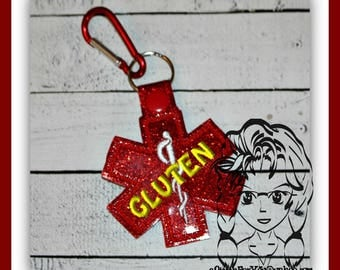 MeDICAL GLUTEN Alert Key FOB Key Ring Snap Tab ~ In the Hoop ~ Downloadable DiGiTaL Machine Embroidery Design by Carrie