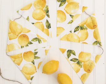 Fresh Lemons Garland Banner Pennants  Flags Lemonade Fabric Triangles Twine Swag Farmhouse Magnolia Market