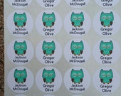 Personalized Owl Stickers for Classroom 20- 1 1/2 inch stickers each sheet with 2 names each sheet