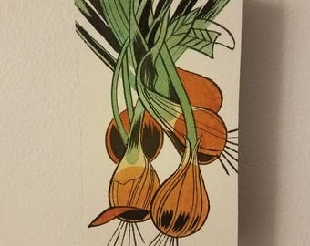 Original painting: Organic Onions. Mounted on cardboard and wood