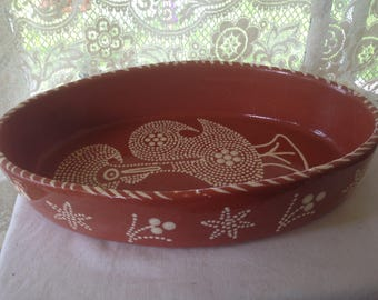 Rooster Terra Cotta Baking Dish Mexico Oval Hand Thrown Hand Painted 1980s Casserole Large