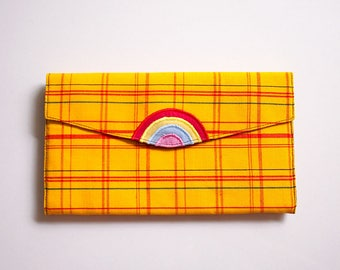 Rainbow Wallet, Wallet with Coin Pouch, Long Wallet, Wallet Purse, Fabric Wallet, Vegan Wallet, Clutch Wallet - Vintage Kimono Plaid Fabric