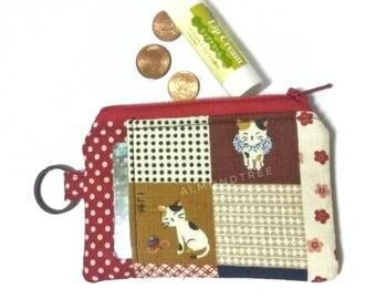 Cat, neko, women wallet cardholder, zipcoin pouch, id171207, jogging accessories, change gift feline, portefueille, credit card case