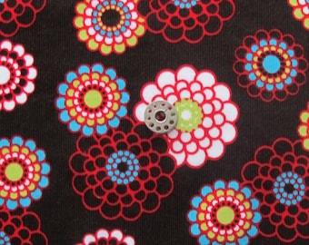HALF YARD Ann Kelle Cool Cords Cotton Corduroy Fabric | Brown background floral print corduroy fabric.