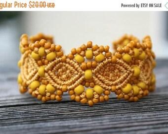 SUMMER SALE Micro-Macrame Beaded Cuff Bracelet - Golden Yellow