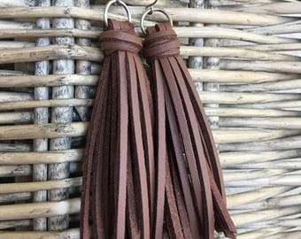 Leather Tassel Earrings, Brown Faux Leather, Fringe Earrings, Boho Tassel Earrings, Tassel Earrings, Leather Earrings, Gift for Her