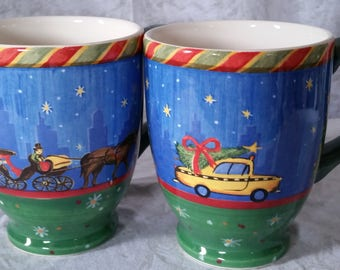 2 Sango Chuck Fischer Christmastime in the city Coffee Tea Mugs Cups 12oz EB