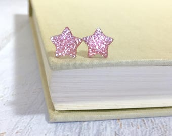 Small Sparkling Bumpy Druzy Light Pink Celestial Star Stud Earrings with Surgical Steel Posts
