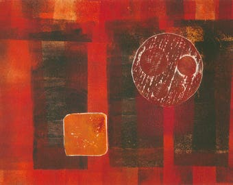Red Sun  - collagraph monoprint, OOAK print