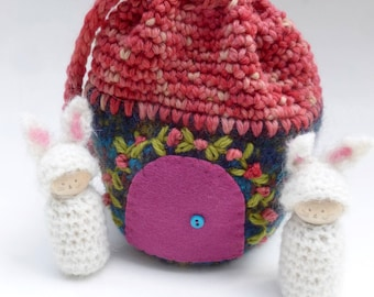Cozy pouch on the go wood peg doll bunnies felted pouch ready to ship