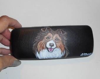 Shetland Sheepdog Sheltie Dog  Hand Painted Eyeglass Case Vegan
