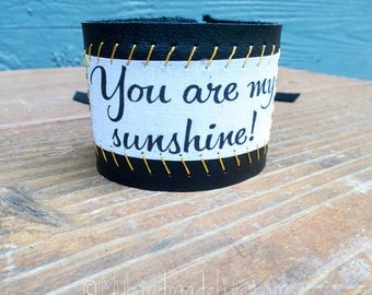 Reclaimed Leather Fringe Cuff | You are my Sunshine | Boho Hippie | One of a kind | Black Leather Fringe Cuff Bracelet | Jewelry Under 40