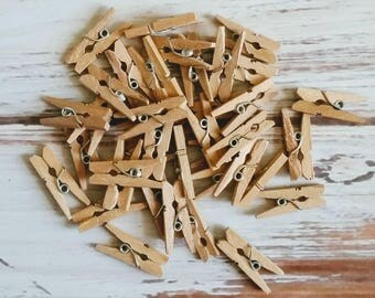 30 Tiny One inch wooden clothes pins
