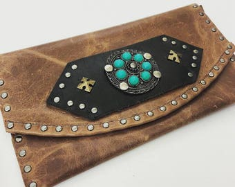 Caramel Leather Clutch with Metal and Turquoise