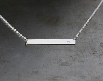 Silver Bar Necklace, White Gemstone Dot, Dainty Bar Necklace, Modern Sterling Silver Jewelry, Layering Jewelry, Minimalist Necklace