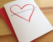 Valentine's Day Love Quote Card - Watercolor Heart Card - Poe Love Quote Valentine's Day Card - We Loved With a Love That Was More Than Love