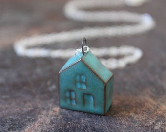 Ceramic Tiny House Necklace with Dark Teal Glaze on Sterling Silver Chain- Mother's Day